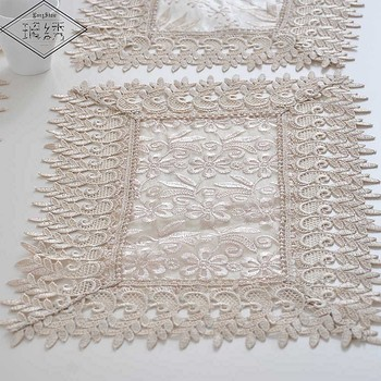 1Lot 4 Pcs 30x45cm Modern Elegant White Organza Fabric Embroidered Place Mats