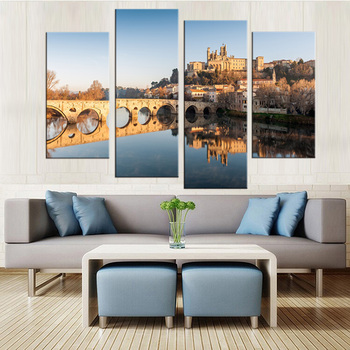Lakeside Bridge Architecture Mural Art Print Oil Paintings Home Furnishings Room Walls 4 Modern City Canvas