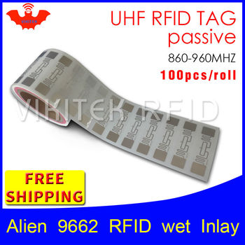 UHF RFID tag EPC 6C sticker Alien 9662 wet inlay 915mhz868mhz860-960MHZ Higgs3 100pcs adhesive passive RFID label