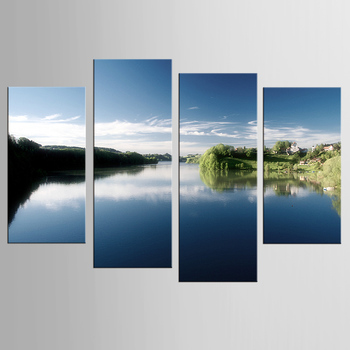 4 Pieces Panel Hot Sell Modern Wall Painting Home Decorative Art Picture Paint on Canvas Prints Streams of water trees