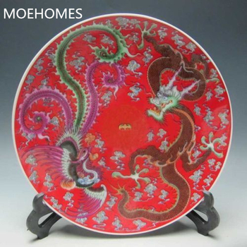 Chinese Colorful porcelain Hand-Painted Dragon & Phoenix red Plate Qianlong Mark Home decorations Plate