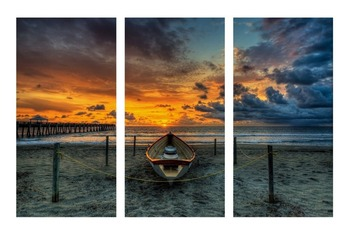 3 Panel Printed Sunset Beach Sailboat Oil Painting Picture Decoracion Canvas Wall Art For Living Room Backdrop