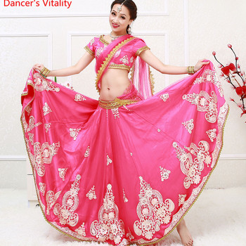 Indian Bollywood dance dancing Clothes Performance Sari veil robe dress top skirt Veil costumes clothes wear